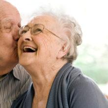 Couple enjoying stay at nursing home